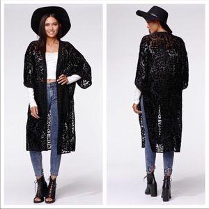 NWT Kendall & Kylie • Burn Out Velvet Maxi Kimono